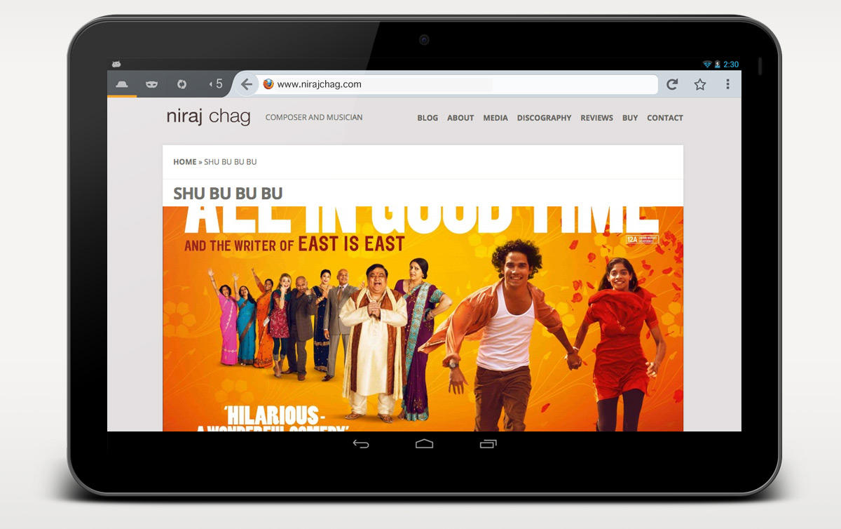 Niraj Chag website example page on tablet
