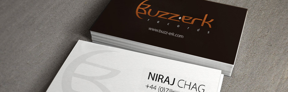 Buzz-erk Records business card example mocks